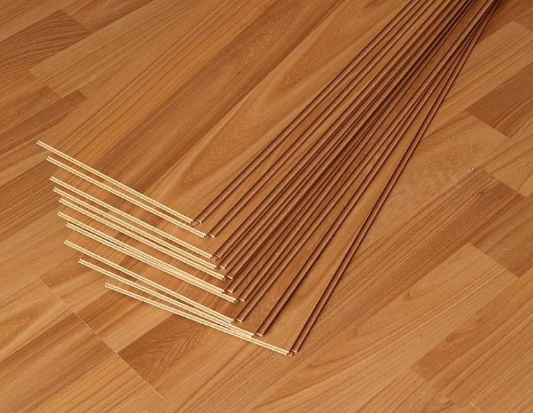 Engineered wood flooring pieces.